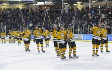 The Sarnia Sting beat the Greyhounds 5-3, handing the Soo their 1st reg. loss in 30 games. January 19, 2018. (Photo courtesy of Metcalfe Photography)