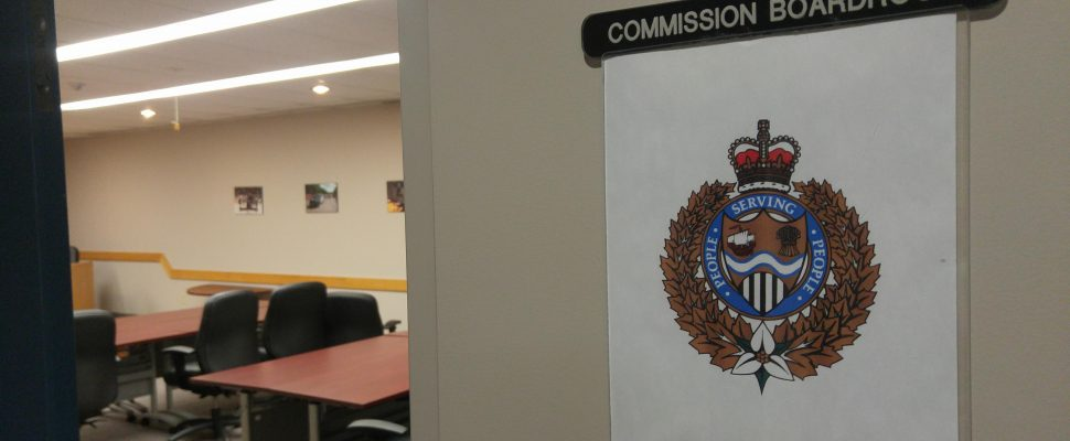 Outside the Commission Boardroom at the Sarnia Police Station. Jan 25, 2018. (Photo by Colin Gowdy, Blackburn News)
