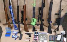 Guns and drugs seized in a raid on Wellington Rd., January 17, 2018. Photo courtesy of London police.