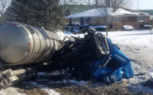 A tanker truck and a minivan came into collision at Kimball Rd. and Courtright Line Jan. 9, 2018 (OPP photo via Twitter)