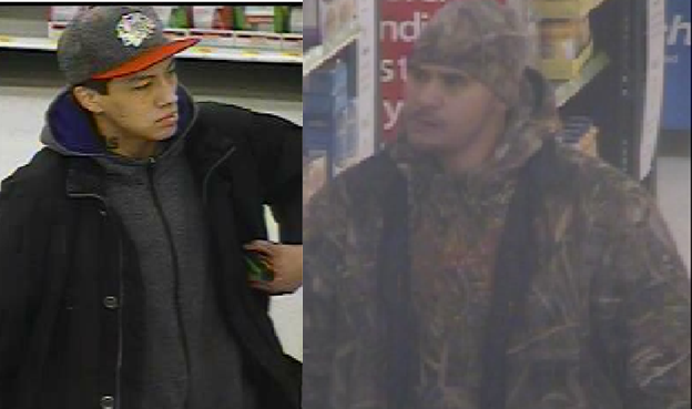 Chatham-Kent police are looking for tips as they work to identify these two men in connection with a shoplifting incident at Walmart in Wallaceburg. (Photo courtesy of Chatham-Kent police)
