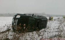 Hwy. 401 rollover in Thamesville. February 4, 2018. (Photo provided by Chatham-Kent OPP).