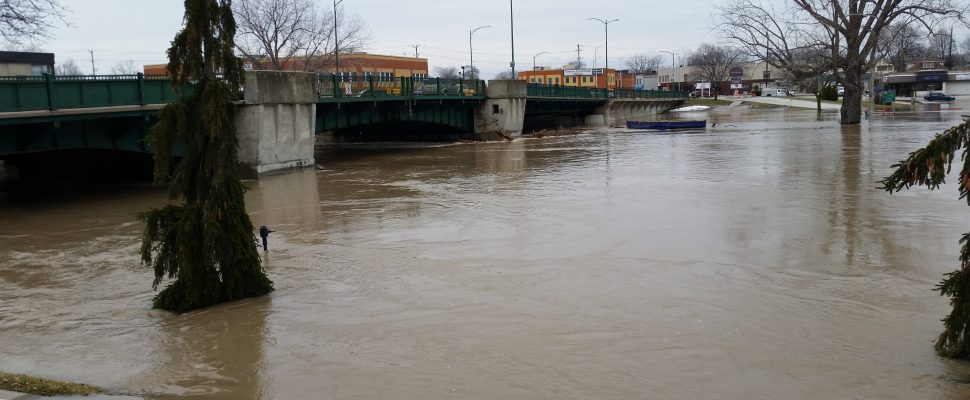 Flooding at Third St. bridge in Chatham. February 24, 2018. (Photo by Cheryl Johnstone).