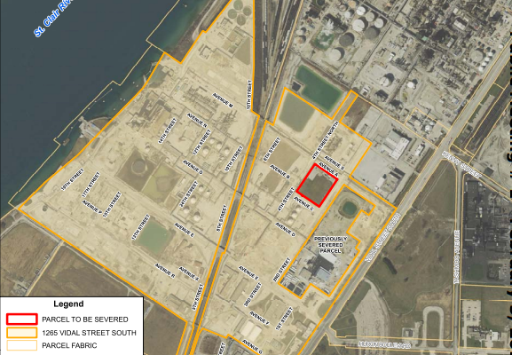 Arlanxeo lands. Aerial photography of project area. (Photo provided in report to Sarnia council.)
