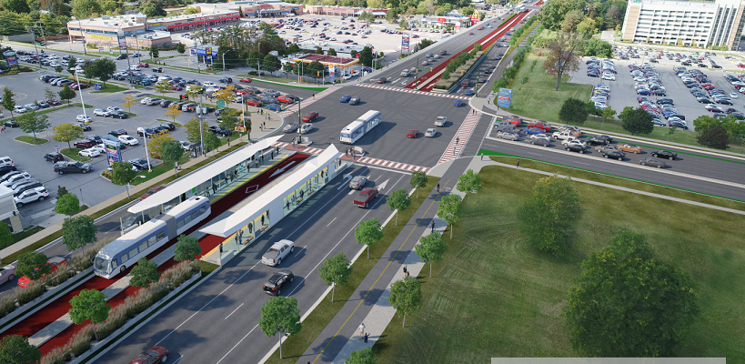 Artist rendering of Wellington Rd. at Commissioners Rd.(Rendering may not represent final design) Rendering courtesy of the City of London.