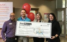 L-R: receiving a generous campaign lead donation of $15,000 to the 2018 YMCA Strong Kids Campaign is Chris Prince-YMCA Community Engagement Coordinator, Spencer Antaya -TekSavvy, Kathi Lomas-McGee-YMCA CEO, Amy Wadsworth-YMCA General Mgr. (Photo courtesy of Gerry Gillis)