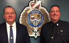 The Sarnia Police Services Board is promoting two inspectors. Norm Hansen (left) will become chief and Owen Lockhart (right) will become deputy chief. February 2, 2018 (Photo by Melanie Irwin)