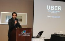 Florin Marksteiner at Uber Chatham-Kent meeting. January 31, 2018. Photo by Sarah Cowan Blackburn News Chatham-Kent.)