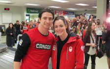 Scott Moir and Tessa Virtue arrive at the London International Airport, February 26, 2018. Photo by Scott Kitching.