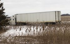 Transport truck in ditch on Hwy. 401. (Photo provided by Chatham-Kent OPP).