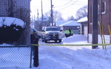 Windsor police on the scene of a sudden death investigation, February 14, 2018. (Photo by Maureen Revait)