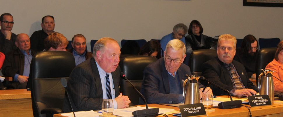 Councillor Doug Sulman discussing motion to put question on ballot regarding council size. February 12, 2018. (Photo by Sarah Cowan Blackburn News Chatham-Kent).