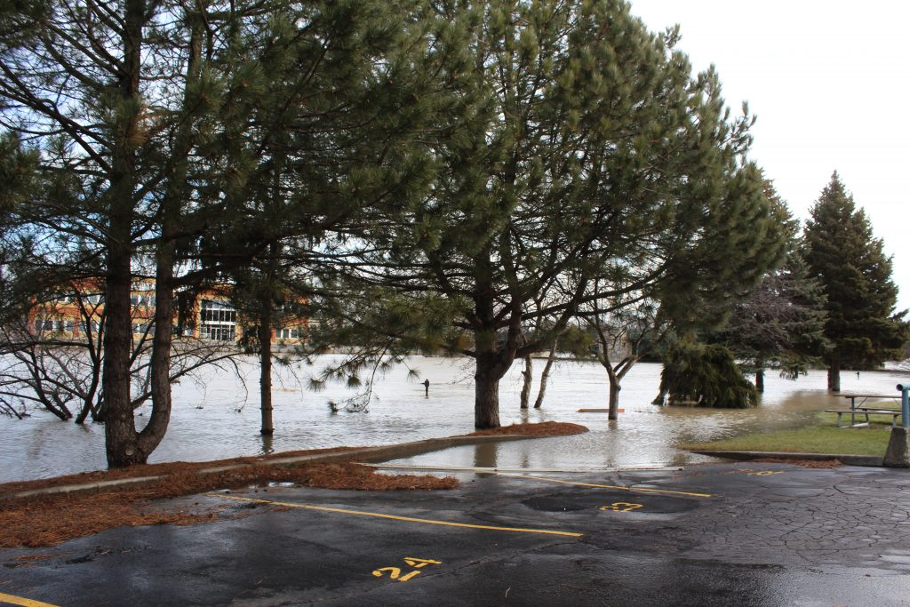 Flooding behind the Civic Centre in Chatham.
