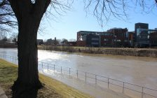 Thames River behind Civic Centre in Chatham after flooding. February 26, 2018. (Photo by Sarah Cowan Blackburn News Chatham-Kent).