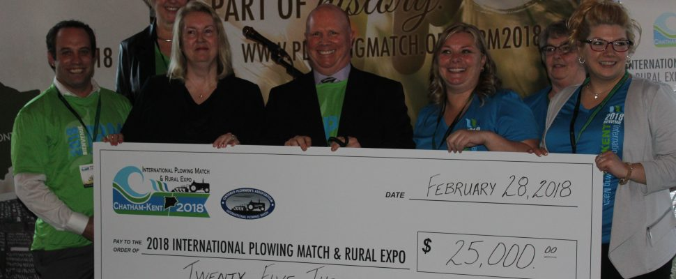 Union Gas presents cheque for $25,000 to IPM 2018 sponsorship committee. February 28, 2018. (Photo by Sarah Cowan Blackburn News Chatham-Kent).