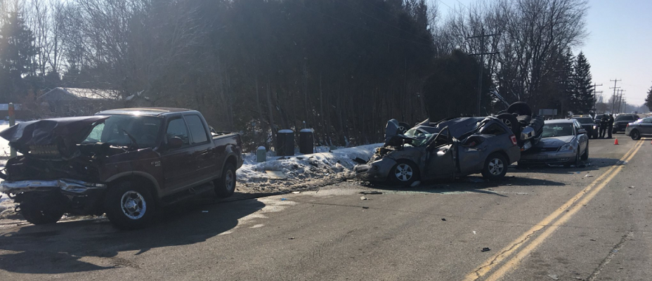 A multi-vehicle crash on Longwoods Rd. at Carriage Rd., near Delaware, February 14, 2018. Photo courtesy of OPP.