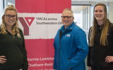 Petrolia Leadership Team Leah Van Barneveld, Tracey Taylor, Aylien Wattel. photo submitted by YMCA Feb. 26,2018