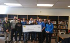 Alexander Mackenzie Secondary School receiving a $5,700 tech grant from Best Buy. February 8, 2018. (Photo by Colin Gowdy, Blackburn News)