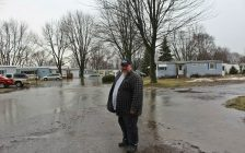 Todd Cadotte standing in front of flooding at St. Clair Community Estates in Chatham. February 20, 2018. (Photo by Sarah Cowan Blackburn News Chatham-Kent).