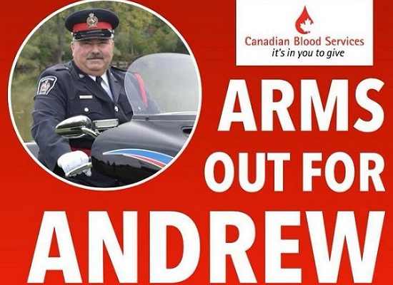 Poster for the blood drive clinic being held on February 24 for CKPS Traffic Officer Constable Andrew Gaiswinkler. (Photo taken from MyCk.ca event calendar)