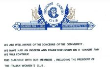 A statement issued by the Caboto Club to the media following Thursday's meeting of the board of directors.