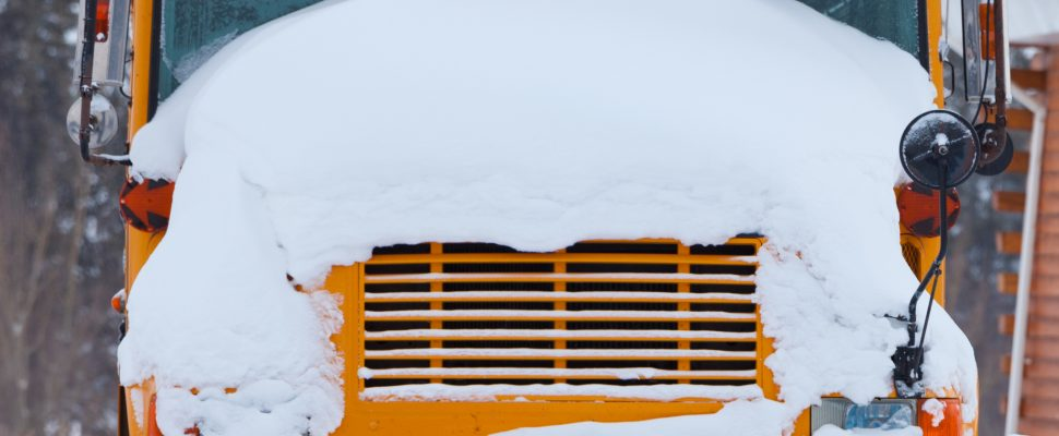 Snowy School Bus. (Photo by © Can Stock Photo / PiLens).