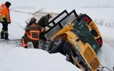 A school bus carrying high school students slids into a ditch February 7, 2018. (Photo courtesy of the Ontario Provincial Police)