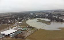 Fields flooded by the rising Thames River in Thamesville, February 23, 2018. (Photo courtesy of the Chatham-Kent Police Service)