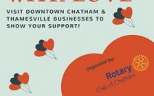 CK being encouraged to help downtown Chatham & Thamesville businesses affected by the recent flood. (Poster courtesy of Rotary Club of Chatham)