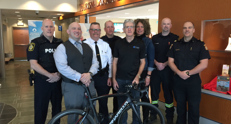 First responders gather with organizers of the 2018 Bluewater International Granfondo to launch the 3rd annual event. February 6, 2018 (Photo by Melanie Irwin)