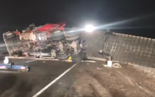 An overturned transport truck blocked the westbound lanes of Hwy. 401 at Currie Rd., February 14, 2018. Photo from OPP.
