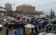 Hundreds of people lined up outside Sarnia Legion for the Catch The Ace draw. March 29, 2018. (Photo by Colin Gowdy, Blackburn News)