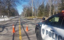A section of Lakeshore Rd being blocked off as police investigate an early morning collision. March 18, 2018. (Photo from the Sarnia Police Service twitter page)