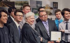 Lieutenant Governor Elizabeth Dowdeswell presents Ontario Heritage Award to Robert Walicki and his Gr. 11 St. Pat's class (Photo courtesy of St. Clair Catholic District School Board)