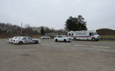A London police command post set up in Vauxhall Park as part of the search for Julia Carbajal, March 1, 2018. (Photo by Miranda Chant, Blackburn News)