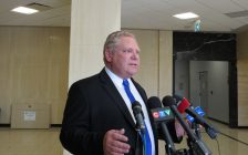 Doug Ford speaks to reporters on a stop in London, March 5, 2018. (Photo by Miranda Chant, Blackburn News)