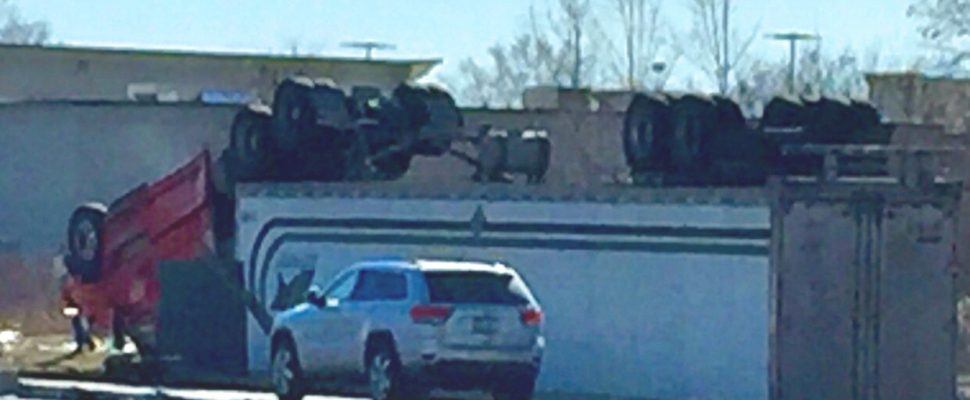 A tractor trailer flipped upside down at Hwy. 402 and Modeland Rd. Mar. 3, 2018 (Photo provided to Blackburn News Sarnia by Jace Dentinger)