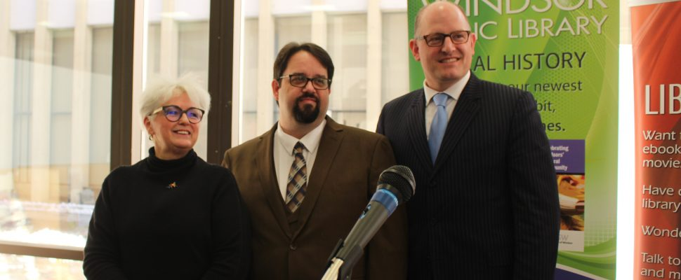 Kitty Pope, Ron Dunn and Windsor Mayor Drew Dilkens announce the sale of the Windsor Public LIbrary Central Branch on Ouellette Ave.