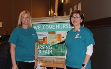 CKHA Vice President and Chief Nursing Executive Lisa Northcott with fellow nurse at Nursing Job Fair in Chatham. March 6, 2018. (Photo by Sarah Cowan Blackburn News Chatham-Kent).