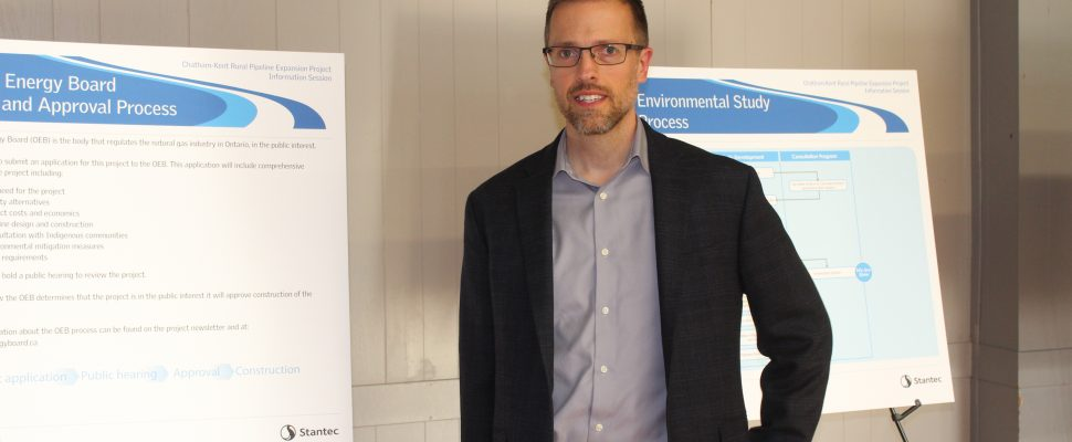 Union Gas District Manager Sean Collier at Chatham-Kent Rural Pipeline Project public information session in Dresden. March 6, 2018. (Photo by Sarah Cowan Blackburn News Chatham-Kent.)
