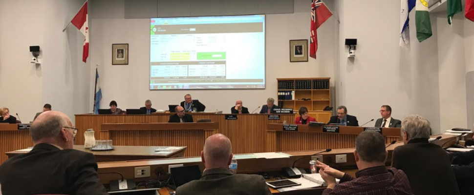 Lambton County Council deliberating the 2018 budget in Wyoming. March 7, 2018 (Photo by Melanie Irwin)