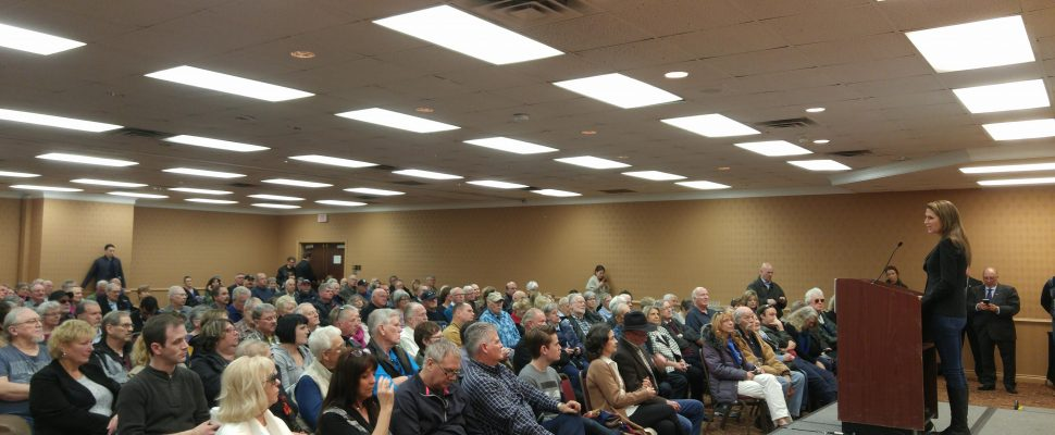Caroline Mulroney speaking to a crowd at the Holiday Inn Point Edward during her campaign trail in the PC Party Leadership race. March 3, 2018. (Photo by Colin Gowdy)
