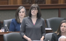 London-Fanshawe NDP MPP Teresa Armstrong at Queen's Park, March 5, 2018. Screen capture from the Ontario Legislature YouTube channel.