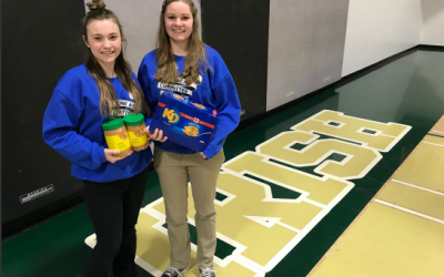 17th annual Cyclone Aid campaign co-chairs Izzy Kokkinis (left) and Beth Schoenmakers (right). March 20, 2018 (Photo by Melanie Irwin)