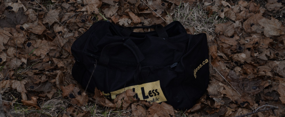 A black gym bag that contained the remains of a dead puppy found in St. Thomas, March 1, 2018. Photo courtesy of St. Thomas police.