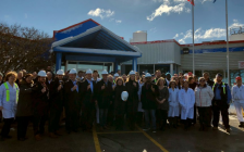 Nestle Canada employees and local dignitaries outside of the company's ice cream plant on Wilton Grove Rd. in London, March 2, 2018. Photo via Twitter @NestleCA