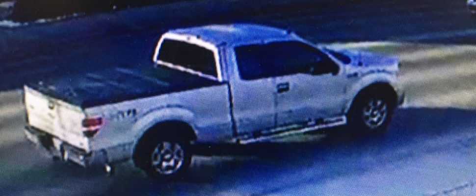 Photo of a pickup truck suspected of being involved in a hit and run on Oxford St. on March 5, 2018. Photo provided by London police.