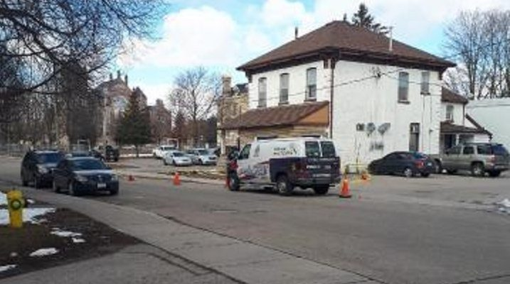 Woodstock police investigate a stabbing on Light St., March 13, 2018. Submitted photo.