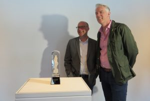 London Mayor Matt Brown and Juno Awards President Allan Reid with the host city Juno award at Museum London, April 30, 2018. (Photo by Miranda Chant, Blackburn News)