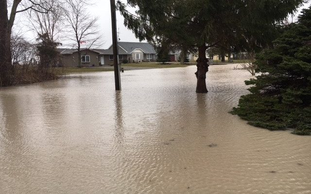 Flooding on Coho St. near Rondeau Provincial Park. (Photo courtesy of the Lower Thames Valley Conservation Authority)
